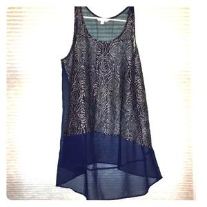 Sheer navy and silver tunic style tank top